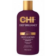 CHI Deep Brilliance Olive & Monoi Optimum Moisture Shampo - Увлажняющий шампунь для поврежденных волос 355мл
