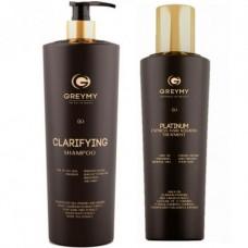 GREYMY Platinum Express Hair KERATIN TREATMENT + GREYMY Clarifying SHAMPOO - Восстанавливающий крем для волос + Очищающий шампунь 500 - 800мл