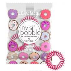 Invisibobble Cheat Day Donut Dream - Ароматизированная резинка-браслет для волос, цвет Розовый 3шт